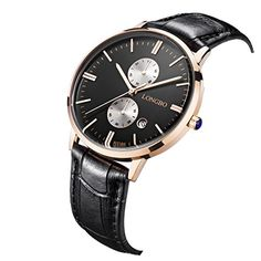 LONGBO Mens Luxury Black Leather Band Couple Watch Casual Business Dress Watches Black Dial Gold Case Analog Quartz Wrist Couple Watch ** You can find out more details at the link of the image. (Note:Amazon affiliate link)