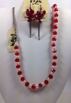 1928 Earrings Necklace Lot Red Swarovski Crystals Faux Pearls- 2 pieces Nice NEW #1928jewelryCo #StrandString