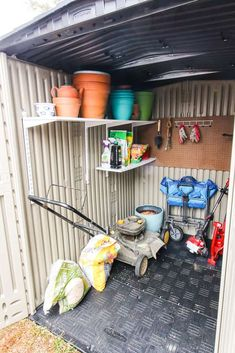Why we got a Rubbermaid Roughneck Storage Shed via Charleston Crafted Rubbermaid Shed, Plastic Storage Sheds, Plastic Sheds, Storage Shed Organization, Storage Shed Kits, Wood Storage Sheds, Organizing, Small Storage, Garden Cottage