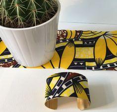 """Machette """"Désert"""" laiton brut et tissu wax traditionnel africain"""