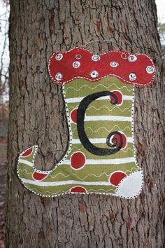 burlap christmas stocking door hanger wreath