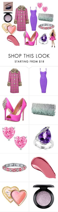 """""""Pink & Purple Party"""" by jasmindayna on Polyvore featuring Marc Jacobs, Badgley Mischka, Katherine Kwei, Effy Jewelry, 1928, Burberry, Too Faced Cosmetics and MAC Cosmetics"""