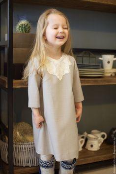 Купить Серое детское платье с кружевной вставкой, весеннее, летнее - платье для девочки