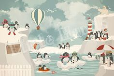 Little Hands Hands Wallpaper Mural Penguins