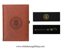 """White House Journal Book & Black Lacquer Presidential Roller Ball Pen Set, White House Seal, Soft Simulated Italian Leather, Terra Cotta, Pen Loop, 150 Bound & Lined Journal Pages, 9"""" x 7"""", Unique Gift or Personal Book. Enter Promo Code """"PIN"""" for 10% off your entire order!"""