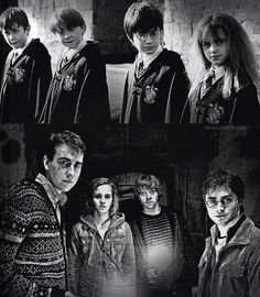 Harry Potter, Neville Longbottom, Hermione Granger, and Ron Weasley.