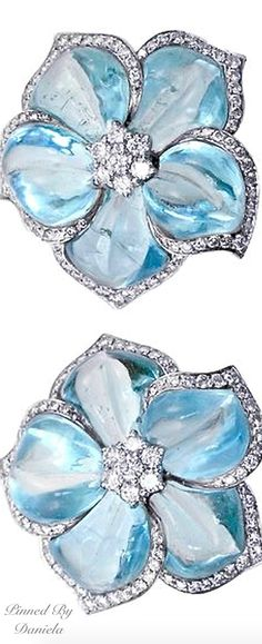Aquamarine Diamond Flower Earrings- I don't have pierced ears, but these are beautiful