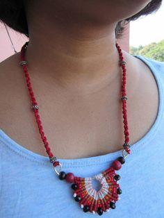 Ardha Chakra Multi colour Long Macrame Tribal  Necklace