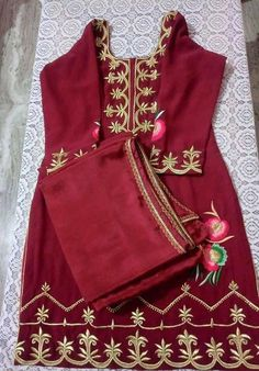 Maroon cotton punjabi suit for summers
