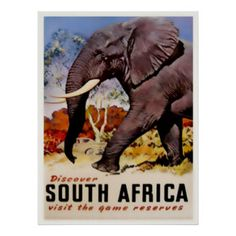 Vintage Travel Poster South Africa Art Print Poster.