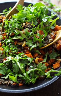 Roasted Sweet Potato, Wild Rice, and Arugula Salad Gluten Free