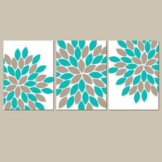 Turquoise Sepia Wall Art CANVAS or Prints Teal by TRMdesign