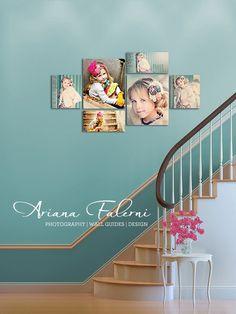 I adore this canvas wall photo display idea. {Wall Decor | Photo Display Idea} {Home Decor}