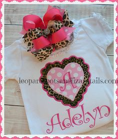 Leopard Heart Personalzied Name  Tee  Baby Girl  by LeopardDIVAS, $22.00