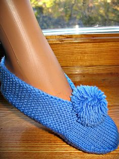 Knit Slippers comes in Blue Cozy Soft Wool Pompon