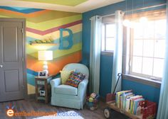 Colorful Room Idea from Embellishments - the studio of Aaron Christiansen... one wall with a series of elongated zig zags; walls with a deep teal; a vanilla framed green on the ceiling;