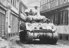 An M4 of Company 'C', 35th Tank Battalion, 4th Armored Division, near Frankfurt, On 28 March 1945.