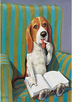 Animals Reading Week To Canada. 'Armchair Dog' by Rudi Hurzlmeier. I Love Books, Good Books, Books To Read, My Books, Reading Art, I Love Reading, Illustrations, Illustration Art, World Of Books