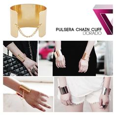 pulsera chain cuff gold chain cuff