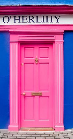 Pink door - Micheal O'Herlihy home built in Currently a guest house in Kinsale, County Cork, Ireland. - by R H Kamen Blue Building, Building A House, When One Door Closes, Unique Doors, Web Design, Windows And Doors, Front Doors, Painted Doors, Closed Doors