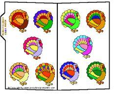 File Folder Game - Color Turkey Match