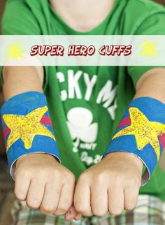 "Superhero Cuffs! Jilly told me multiple times ""this is great mom!""  It's amazing how a bit of paint, crayons, markers, or glitter can transform toilet paper rolls into these awesome superhero cuffs."