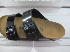Birkenstock slides shiny dark leather, suede lined #birkenstock
