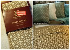 Fastest #Envelope Back #Pillows EVER! Use dinner cloth napkins! Minimal sewing! Great beginner sewing project!