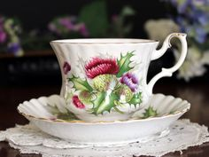 Royal Albert Thistle Tea Cup and Saucer by TheVintageTeacup