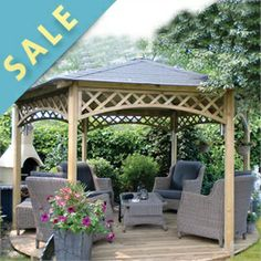 ***This gazebo does not include the lattice panels featured on the roof trim or bottom panels.