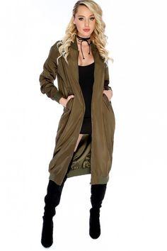 Sexy Olive Bold Long Sleeve Zip Long Bomber Jacket