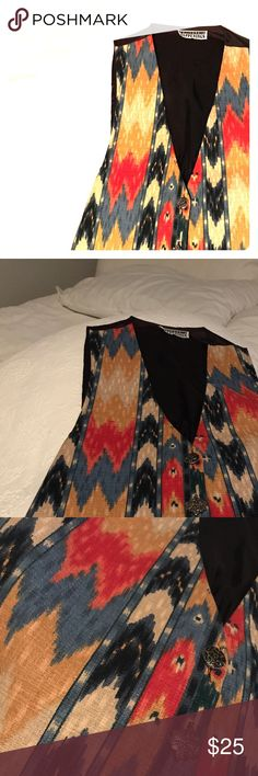 """Vintage Vest California Happenings Vintage Vest southwest style in colorful jewel tones and three gorgeous buttons. 18"""" pit to pit, 25"""" shoulder to longest point on Vest. EUC California Happenings Jackets & Coats Vests"""