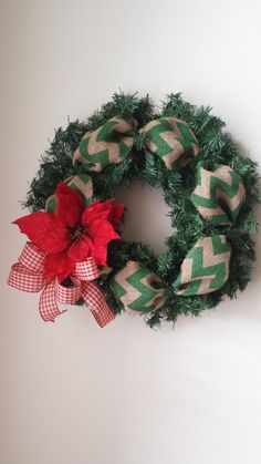 Red Poinsettia Green Chervon Burlap Wreath by Gigibribri on Etsy