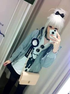 Pastel Goth Girl || Japanese Street Style || White Wig: