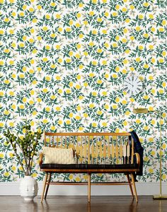 yellow peonies wallpaper from Rifle Paper Co. Decor, Interior, Paper Wallpaper, Home Decor, Stunning Wallpapers, Modern Wallpaper, Peony Wallpaper, Interior Design, Home Wallpaper