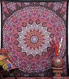 Amazon.com: Large Grey/Maroon Mandala Tapestry Wall hanging Hippe Grey Tapestry Wall Hanging Large Table Runner Bed Cover Indian Cotton Bohemian Bedspread Bed sheet Wall Hanging: Home & Kitchen