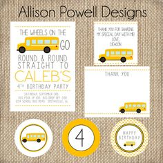 School Bus, Yellow Bus, Wheels on the bus, Custom Printable Birthday Party Invitation by Allison Powell Designs      Thank you for visiting