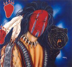 Henri Peter Paintings   Animal Art - Henri_Peter] Bear Man; Image ONLY