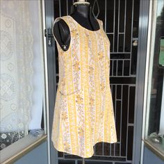 Upcycled vintage cotton sheet dress w pockets