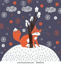 stock vector : Christmas background with cute fox