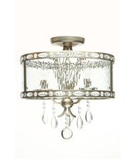 Vanilla Ice Lighting 1201SF3AB Vanilla Rain 3 Light Semi Flush Mount in Antique Bronze with Clear Water glassCrystal Drop crystal