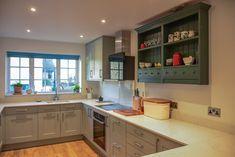 Kitchen installation by Apli Construction. Wilsden range in Cornflower blue. Mr And Mrs Smith, Double Shower, Kitchen Installation, Bespoke Kitchens, Open Plan Living, New Builds, Project Management, New Kitchen, Living Area