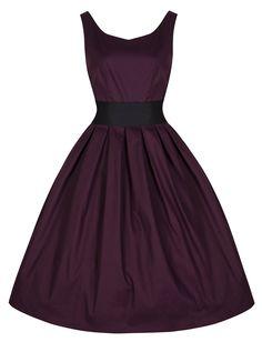 Lindy Bop 'Lana' Vintage 1950's Inspired Rockabilly Swing Dress (2XL, Damson)