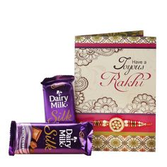 Check out our New Product  Lovable hamper for bro Rakhi Special 2 Cadbury silk chocolates  60grms with Red golden and green beads with golden circular design in middle rakhi and a greeting card, Roli Chawal  Rs.570