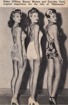1940s glamazon beauties - vintage 1940s swimsuits, flower hair