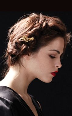 Pretty updo with braid and gold hairpiece