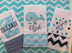 Items similar to Set of 3 Personalized Burp Cloths - Diaper Cloths - Baby Boy - Monogrammed - Gift Set - Chevron- Polka Dot- Whale on Etsy Burp Cloth Diapers, Baby Burp Cloths, Burp Cloth Set, Baby Embroidery, Embroidery Monogram, Machine Embroidery, Machine Applique, Embroidery Patterns, Baby Boy Monogram