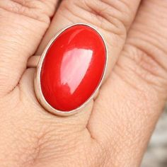 Bold and Beautiful: RED the color of love and Passion. Sterling silver Red Coral ring. Made of fine sterling silver and Red coral. Handmade with lots of love and Care. Each and every jewelry is handcrafted to perfection because jewelry making is my passion. Versatile ring, Unisex. Have fun.