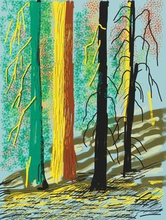 David Hockney, Untitled from The Yosemite Suite, 2010 Annely Juda Fine Art David Hockney Ipad, David Hockney Art, David Hockney Paintings, David Hockney Landscapes, Pop Art, Collage, Painting Wallpaper, Claes Oldenburg, Jasper Johns