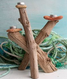 DRIFTWOOD CANDLE HOLDER ,TABLE CENTRE, CANDELABRA, TEA LIGHT HOLDER, OAK £45.00